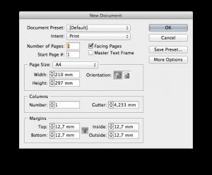 InDesign CS5 new document