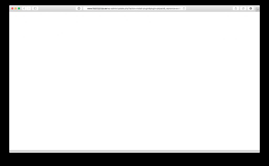 White screen of death när man försöker installera Jetpack på One.com